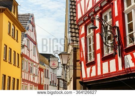 Half-timbered Houses In The Old Town Of Linz Am Rhein, Germany