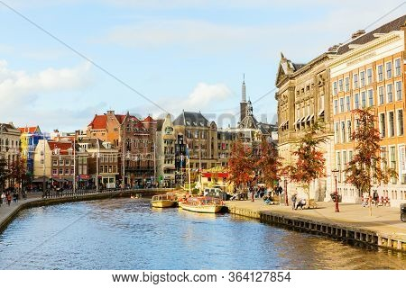 Cityscape With Canal In Amsterdam, Netherlands