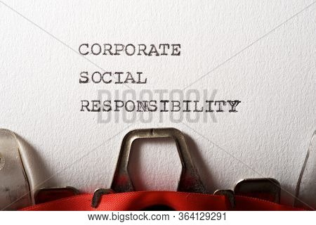 Corporate Social Responsibility text written with a typewriter.