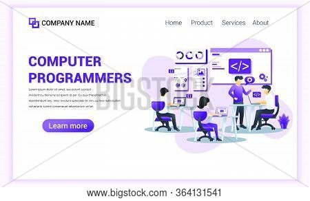 Modern Flat Design Concept Of Computer Programmers With Characters Sitting At Desk As Programmer And