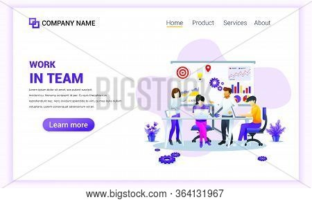 Modern Flat Design Concept Of Team Work Design With Characters In Meeting And Presentation. Can Use