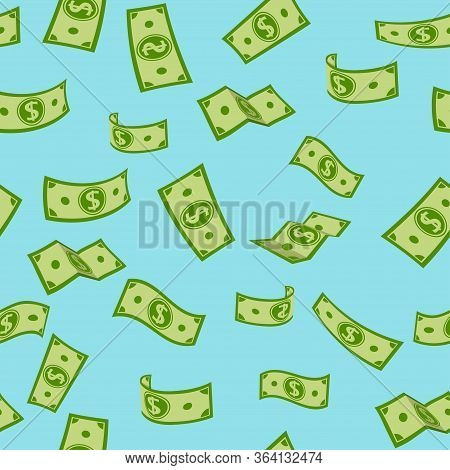Money Rain Flat Cartoon Seamless Pattern. Green Paper Notes Flying In Air. Money Banknotes Flying Bl