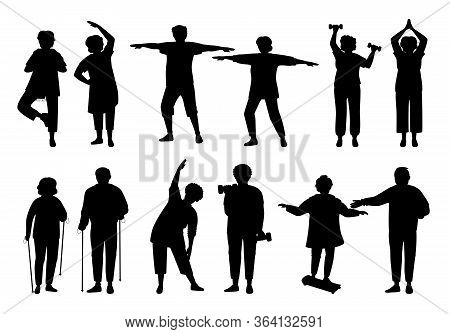 Healthy Active Lifestyle Older People, Black Flat Silhouette Set. Sport Retiree Grandparent. Glyph E