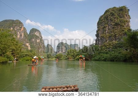 The Li River or Lijiang is a river in Guangxi Zhuang Autonomous Region, China. It flows 83 kilometres (52 mi) from Guilin to Yangshuo and famous for landscape formed by karst rocks.
