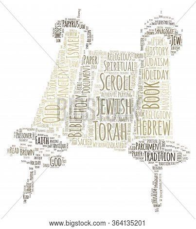 Jewish Torah Scrolls Word Cloud Art Poster Illustration