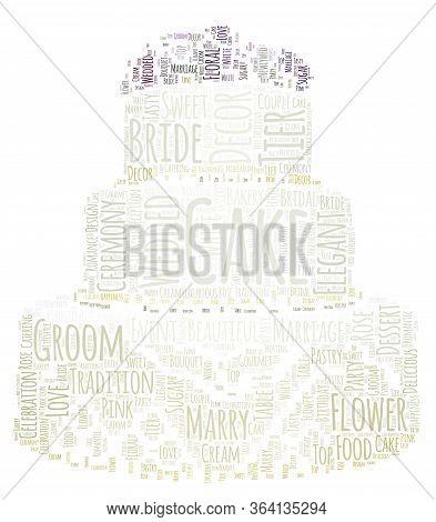 Wedding Cake Word Cloud Art Poster Illustration