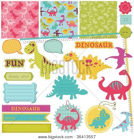 Scrapbook Design Elements - Baby Dinosaur Set - in vector