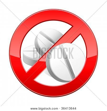 Vector illustration of sign no pills .Isolated on white background.