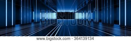 Abstract Corridor Perspective  Hall Digital Technology Background. Blue Light In Digital Hall. 3d Il