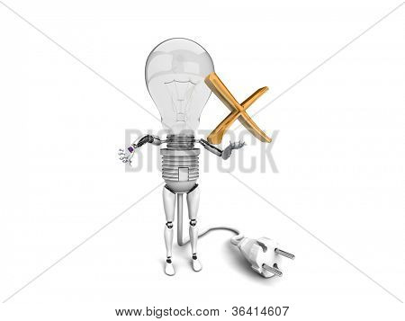 """The robot """"bulb"""" Holds in a hand """"no"""" sign and show """"bad""""  isolated on a white background"""