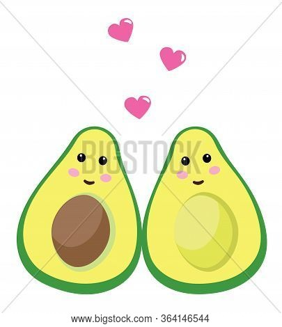 Vector Illustration Of Two Avocados. Pink Hearts And Avocado Background.