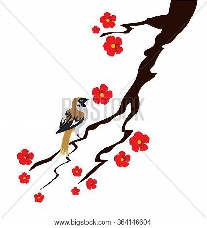 Vector Illustration Of A Blossom Branch And A Sparrow.