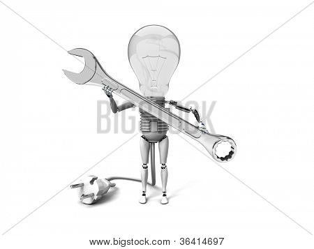"""The robot """"bulb"""" Holds in a hand tool and show """"ok""""  isolated on a white background"""