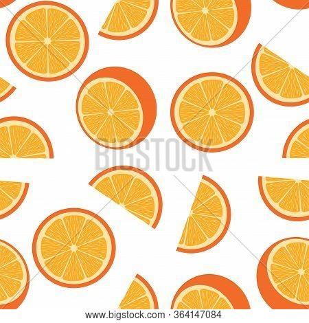 Vector Illustration Of Seamless Orange Background. Bright Orange Fruit Pattern. Fabric, Wallpaper, K