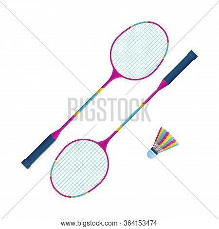 Sports Equipment For Badminton Vector Illustration. Flat Badminton Rackets With Shuttlecock. Colorfu