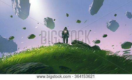 A Spaceman Standing On A Hill Surrounded By Floating Rocks, Digital Art Style, Illustration Painting