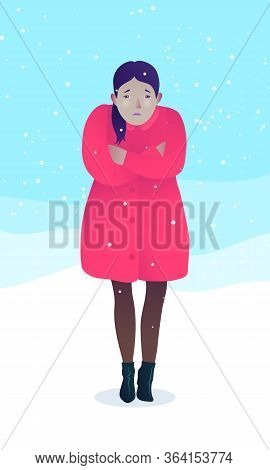 Sad Young Woman Coldly Dressed In Winter Season. Freezing Girl Wearing Red Coat And Shoes Standing O