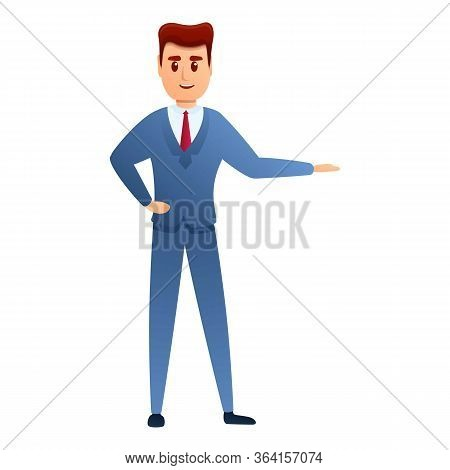 Welcome Businessman Icon. Cartoon Of Welcome Businessman Vector Icon For Web Design Isolated On Whit