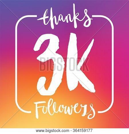 Thanks 3k Followers. Social Media Subscriber Banner