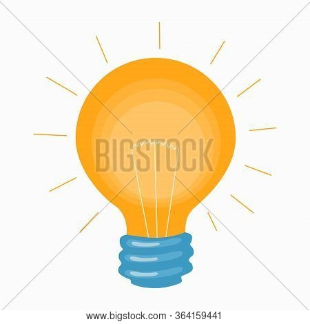 Glowing Light Bulb With Yellow Warm Light For An Icon Or Logo. Concept Of Idea And Insight Or Burst