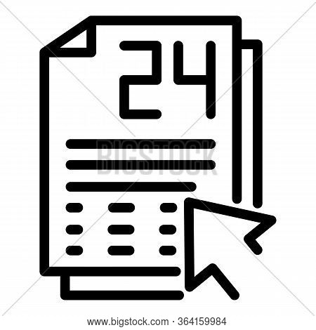 Daily Planner Icon. Outline Daily Planner Vector Icon For Web Design Isolated On White Background