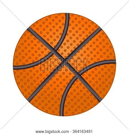 Basketball Ball Isolated On White Background. Shiny Textured Basketball Icon. Brown Classic Basketba
