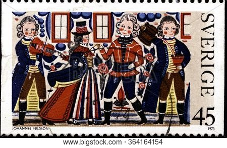 02.09.2020 Divnoe Stavropol Territory Russia Postage Stamp Sweden 1973 Folklore Paintings Peasant Pa
