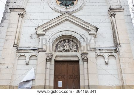 Tours, France - February 8, 2020: Architectural Detail Of The Romanian Orthodox Parish Saint Nectair