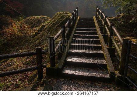 Takachiho, Kyushu, Japan - November 25, 2019 : One Of The Many Steps In The Takachiho Gorge