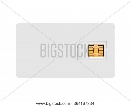 Sim Card Plastic Mockup. Phone Isolated Card Of Cellular Connection. Mock Up With White Card And Ora