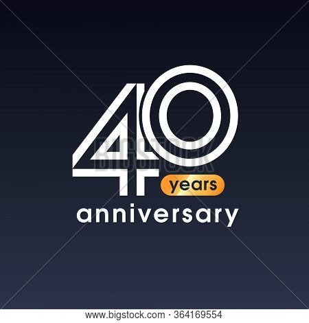 40 Years Anniversary Vector Icon, Logo. Design Element With Graphic Sign