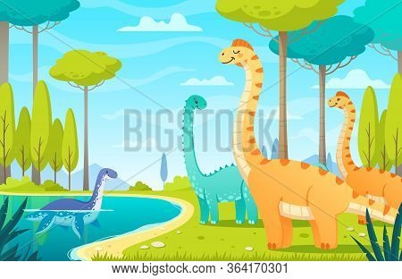 Dinosaurs Composition With Cartoon Characters Of Dinos In Natural Habitat With Wild Landscape Trees