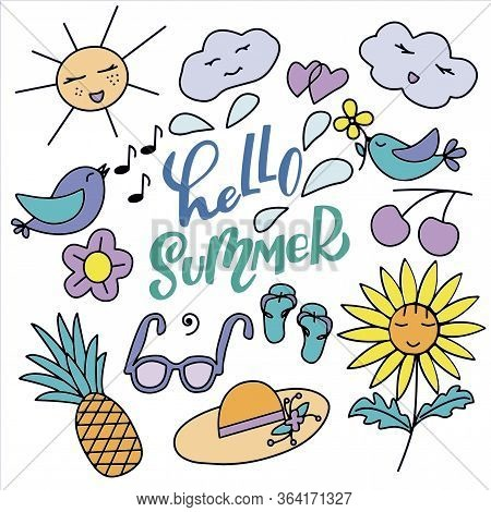 Set Of Cute, Cartoony Characters And Lettering - Hello Summer - In Vector Graphics On A White Backgr