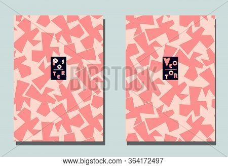 Cover With Graphic Elements - Abstract Shapes. Two Modern Vector Flyers In Puzzle  Style. Geometric