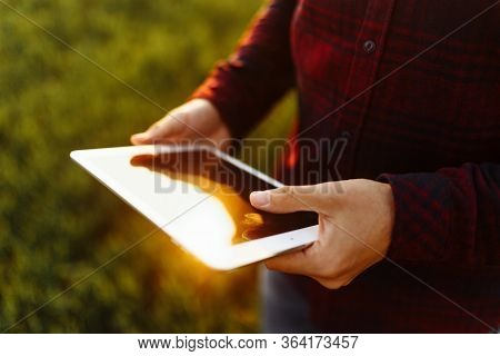 Closeup Of Young Farmers Hands Holding A Tablet And Checking The Progress Of The Harvest At The Gree