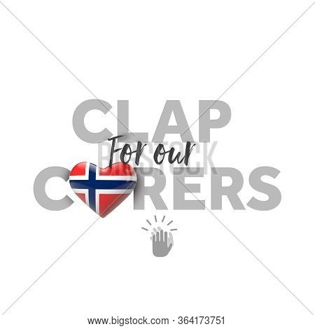Clap For Carers Message With Norway Heart Flag. 3d Render