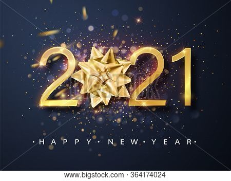 2021 Happy New Year Vector Background With Golden Gift Bow, Confetti, White Numbers. Winter Holiday