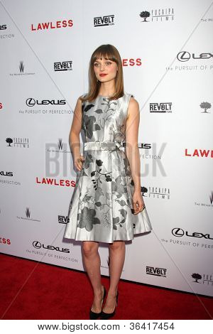 """LOS ANGELES - AUG 22:  Bella Heathcote arrives at the """"Lawless"""" LA Premiere at ArcLight Theaters on August 22, 2012 in Los Angeles, CA"""