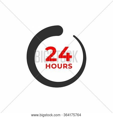 24h Color Icon And Time Concept Isolated On White. Work, Deadline, Delivery Timer. Open, Special Off