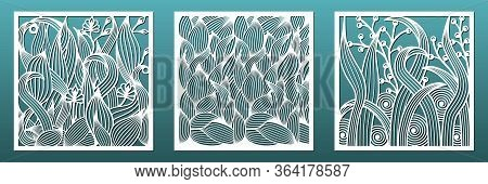 Laser Cut Panels With Floral Pattern. Set Of Templates For Interior Design, Wall Art Decor, Room Div