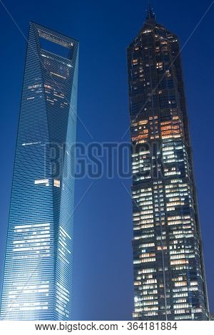 Pudong, Shanghai, China, Asia - November 26, 2008: View Of The Swfc, Shanghai World Financial Center