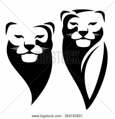 Lioness Or Wild Puma Black And White Vector Outline Portrait - Animal Head Simple Monochrome Design