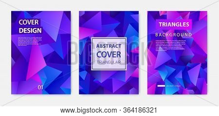 Vector Covers Templates Set With Graphic Geometric Elements, Facet Abstract Posters, Brochures, Bann