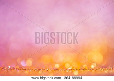 Festive Bokeh Lights Background, Abstract Glowing Backdrop With Circles, Modern Design Wallpaper Wit