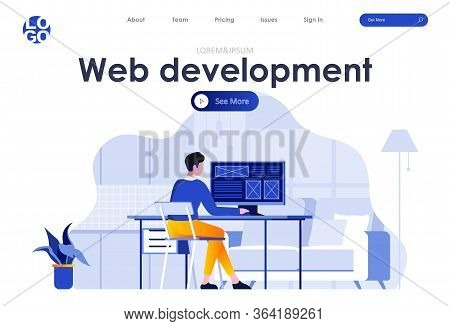 Web Development Flat Landing Page. Frontend Developer Working At Workplace Scene With Header. Ui Ux