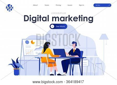 Digital Marketing Flat Landing Page Design. Telemarketing Operators With Headsets In Office Scene Wi