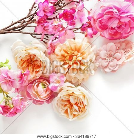 pink rose flowers on white background. shabby chic colors