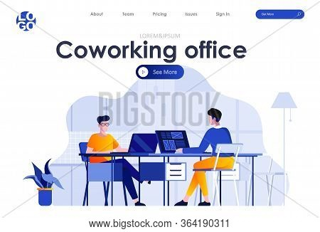 Coworking Office Flat Landing Page Design. Young People Working With Computers In Coworking Openspac