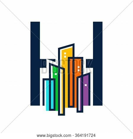 Simple, Clean And Eye Catching Logo Design Combining Initial H With Colorful Mono Line Building.
