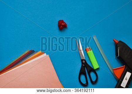 Step 5. Step By Step. Do It Yourself. We Collect A Flower From Ribbons. Top View, Place For Text. On
